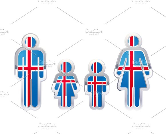 People Icon With Iceland Flag