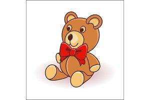 Cute Cartoon Teddy Bear on a white background