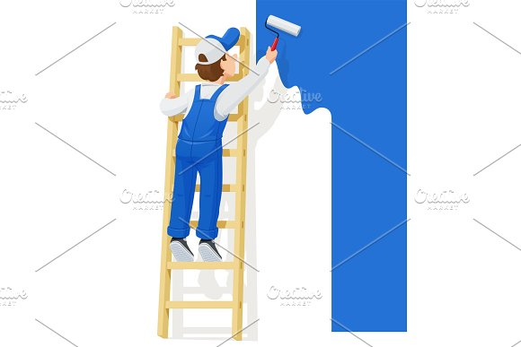 Painter At Stairs Paint Wall Cartoon
