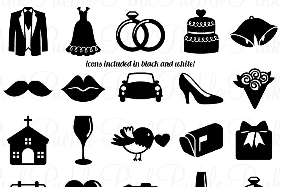 Wedding vector. Icons clipart and vectors