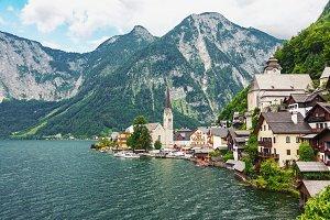 Alpine village Hallstatt in Austria