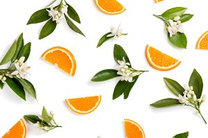 Orange fruit and flovers, above view