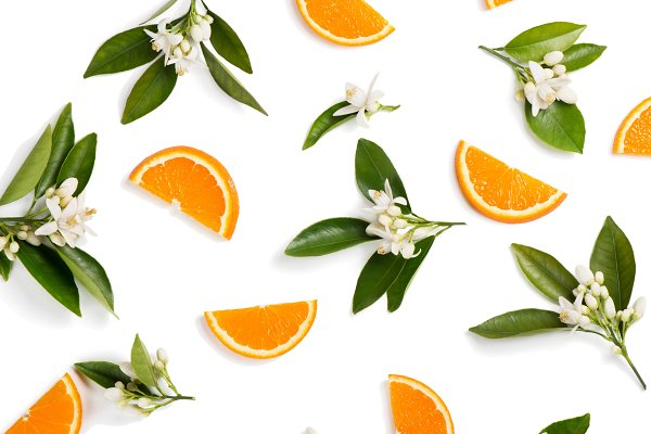 Food Stock Photos: Sunny - Orange fruit and flovers, above view