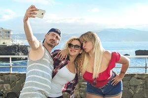 Three friends doing a selfie