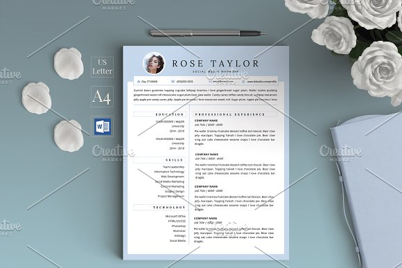 Resume Template CV Rose