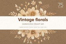 Vintage florals. Watercolor cliparts