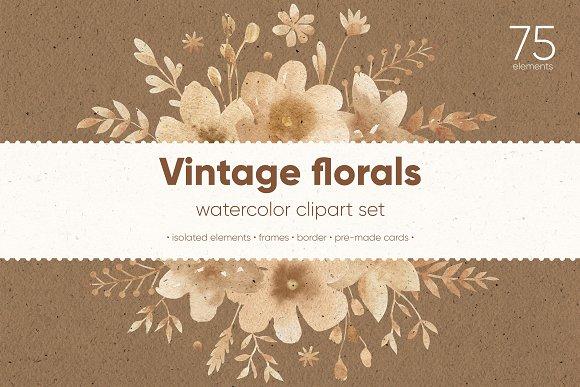 Vintage Florals Watercolor Cliparts