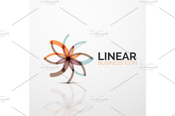 Outline Minimal Abstract Geometric Linear Business Icon Made Of Line Segments Elements