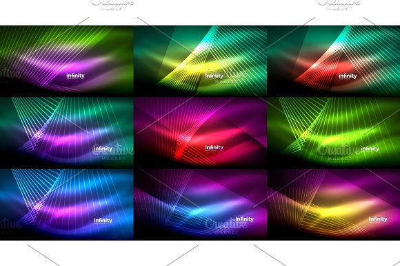 Mega Collection Of Abstract Neon Backgrounds Glowing Shiny Lines In Dark