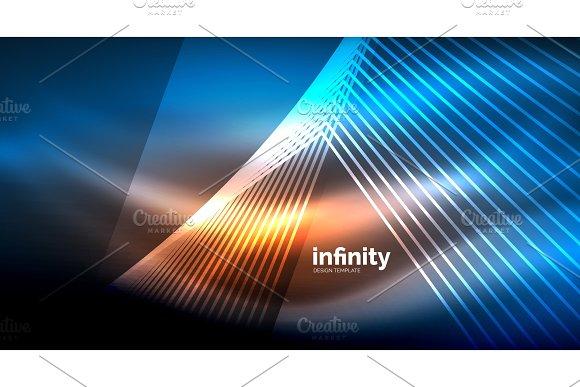 Shiny Straight Lines On Dark Background Techno Digital Modern Template