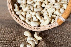 Cashew nuts in a basket.Healthy food