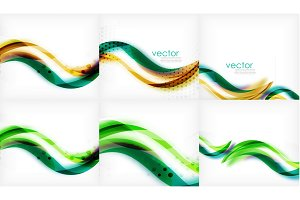 Flowing wave line pattern, abstract background. Mega collection