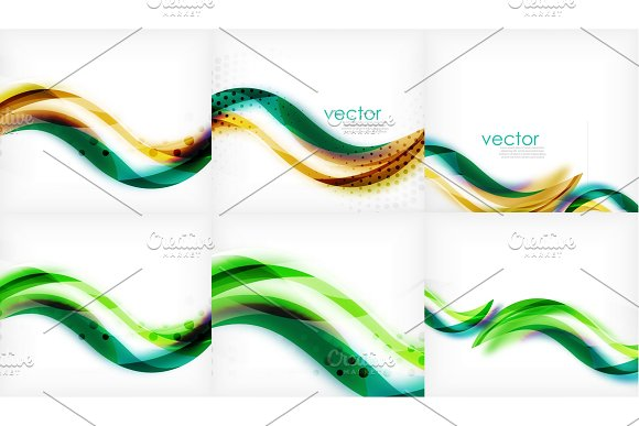 Flowing Wave Line Pattern Abstract Background Mega Collection