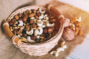 Nut mix in bowl. Hazelnuts, cashews
