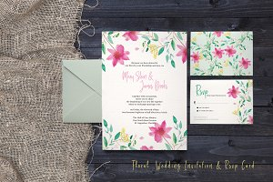 Floral Wedding Invitation & Rsvp Set