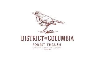 Vintage Bird Logo: Thrush