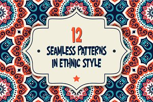 12 Seamless patterns in ethnic style