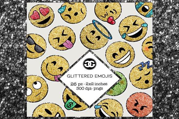 Glitter Emoji Clip Arts Png Set