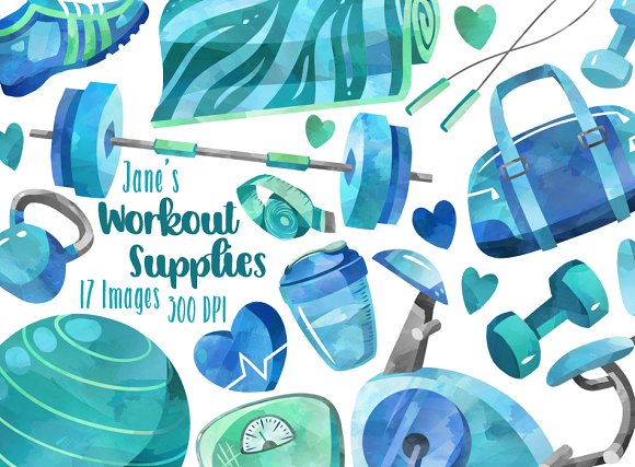 Watercolor Workout Supplies Clipart