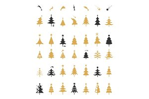Christmas tree silhouette design vector.