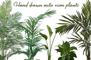Set of Hand drawn vector room plants