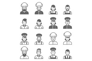 People occupations icons. Cook avatar profile.