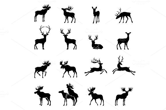 Deer Collection Vector Silhouette