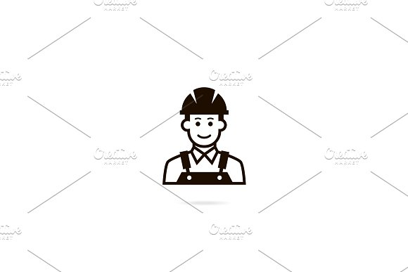 Industrial Worker Icon A Man In A Helmet Vector Avatar