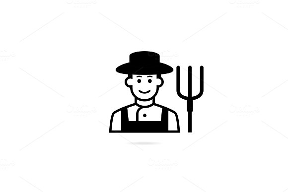 Farmer With Pitchfork In Hand Vector Icon