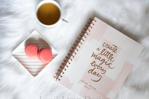 Pink Journal with Tea and Macaroons