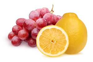 Lemon and grapes