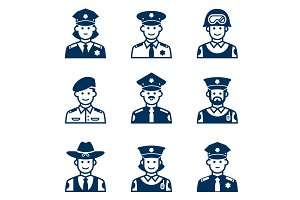 People occupations icons. Police icon.