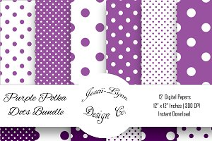 Purple and White Polka Dots Bundle