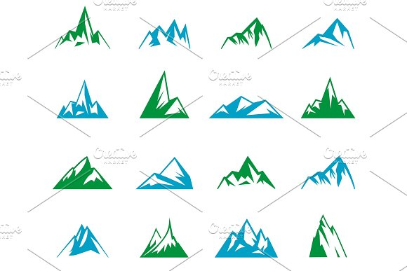Mountain Icons Set On White Background