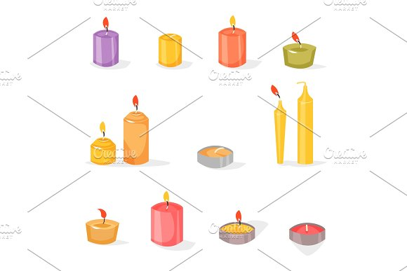 Candles In A Flat Style
