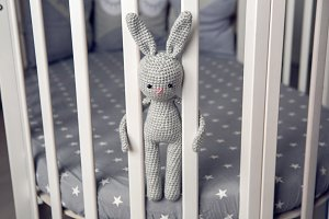 grey knitted rabbit sitting behind the partitions