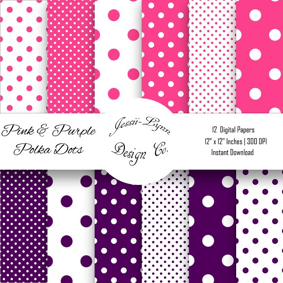 Pink And Purple Polka Dots Bundle