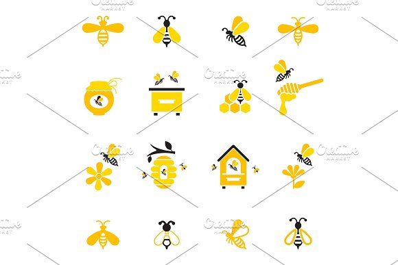 Bee And Honey Icon Set