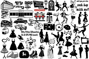Nifty Fifties Silhouettes AI EPS PNG