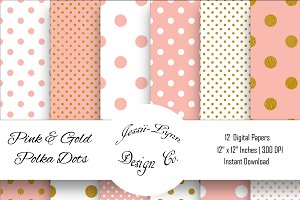 Pink, White and Gold Polka Dots