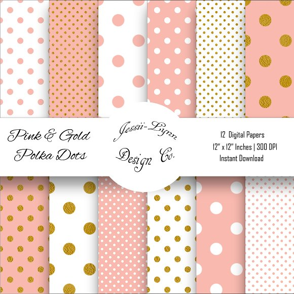 Pink White And Gold Polka Dots