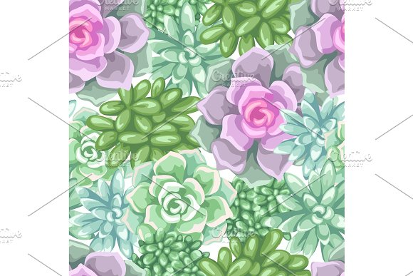 Seamless Pattern With Succulents Echeveria Jade Plant And Donkey Tails