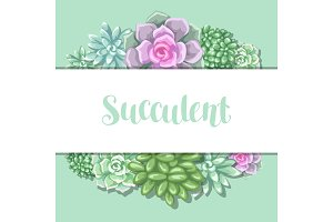 Card with succulents. Echeveria, Jade Plant and Donkey Tails