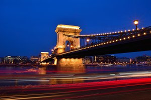 Chain bridge over Danube river.