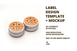 Round Label Template + Mockup