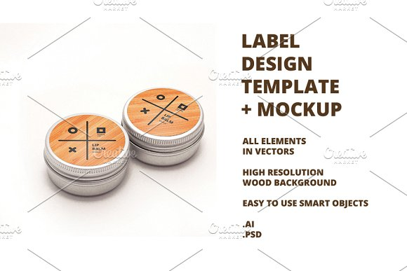 Round Label Template Mockup