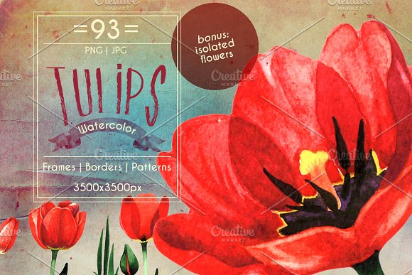 Amazing Tulips PNG Watercolor Set