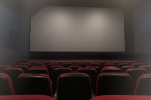 Cinema interior with empty screen.