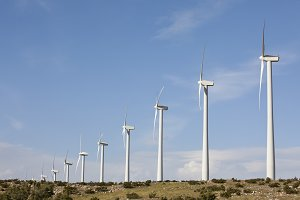 Dramatic Wind Turbines in Desert
