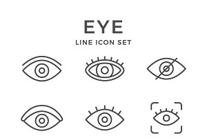 Set line icons of eye